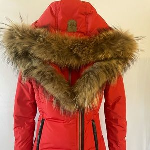 Mackage Adali Woman's Coat in Red with Natural Fur